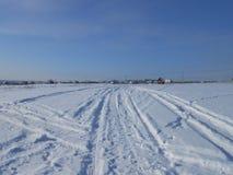 Snowmarks auf dem Gebiet Stockfotos
