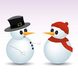 Snowmen. Vector illustration of two snowmen Royalty Free Stock Images