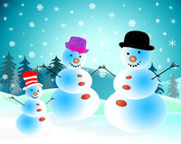 Snowmen. Cheerful snowmen celebrate a New Year's day stock illustration