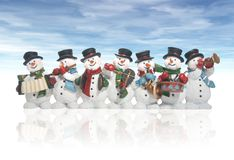 Snowmen. Playing music instruments isolated over white stock images