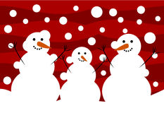 Snowmen. Three funny snowmen. Winter  illustration Stock Image