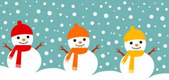 Snowmen. Happy colorful snowmen during snowfall vector illustration