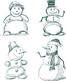 Snowmen. Vector sketches of a different snowmen royalty free illustration