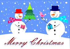 Snowmen. And tree on a background Royalty Free Stock Images