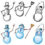 Snowmen. 3 snowmen in color and black & white treatments royalty free illustration