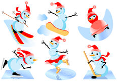 Snowmen. Athletic snowmen in different sports activities Stock Photos