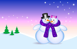 Snowmen. Two happy snowmen in cold Christmas night Stock Photography