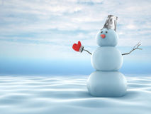 Snowmen. On the snow with sky background vector illustration