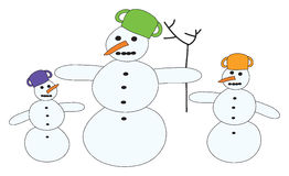 Snowmen. With EPS file you can change for example collor Royalty Free Stock Photography