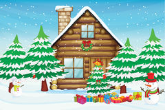 Free Snowmen And House Stock Image - 27898301