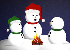 Snowmen around bonfire. Illustration of three snowmen gathered around bonfire at night Royalty Free Stock Photos