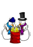 Snowmen around a fire Royalty Free Stock Photo