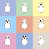 9 snowmen on a background of colored squares Stock Image