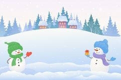 Snowmen background. Vector drawing of a Christmas scene with two cute snowmen and snowy background royalty free illustration