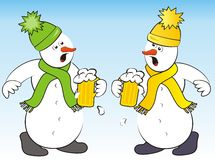Snowmen and beer. Two snowmen drink a toast with beer. Humorous illustration Royalty Free Stock Images