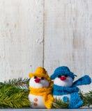 Snowmen board wooden Christmas winter plush duo Royalty Free Stock Image