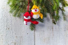 Snowmen board wooden Christmas winter plush duo Royalty Free Stock Image