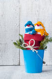 Snowmen board wooden Christmas winter plush duo Stock Photos