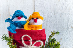 Snowmen board wooden Christmas winter plush duo Stock Photography