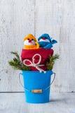 Snowmen board wooden Christmas winter plush duo Stock Photos