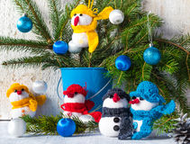 Snowmen board wooden Christmas winter plush team family Royalty Free Stock Image