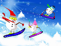 Snowmen on Boards Royalty Free Stock Photography