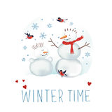 Snowmen, bullfinches and snowflakes. Vector illustration about winter time. Snowmen, bullfinches and snowflakes Royalty Free Stock Images