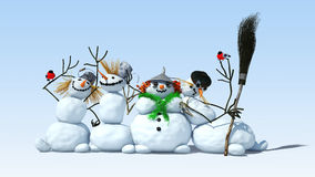 Snowmen and bullfinches are on a white background Royalty Free Stock Photo