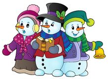 Snowmen carol singers theme image 1. Eps10 vector illustration Royalty Free Stock Photos