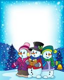 Snowmen carol singers theme image 3 Stock Photo