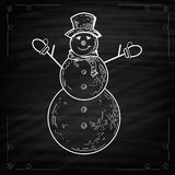 Snowmen on Chalkboard Style Stock Photography