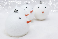 Snowmen Christmas baubles Royalty Free Stock Photography