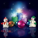 Snowmen and Christmas decorations Stock Images