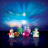 Snowmen and Christmas decorations Stock Image