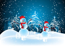 Snowmen in Christmas landscape. Illustration of snowmen, presents and Christmas trees under starry sky on snowy landscape stock illustration