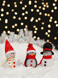 Snowmen in the Christmas night Royalty Free Stock Photo