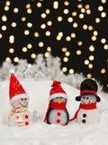 Snowmen in the Christmas night Royalty Free Stock Photo