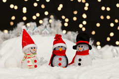 Snowmen in the Christmas night Stock Photography