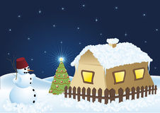 Snowmen christmas tree and snowy house. In the night Royalty Free Stock Photography