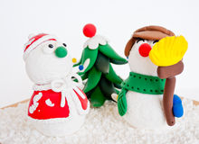 Snowmen on a cold winter with snowflake Royalty Free Stock Photography