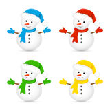 Snowmen in colorful hats and scarves Royalty Free Stock Photos