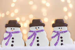 Snowmen Cookies with Lights Stock Image