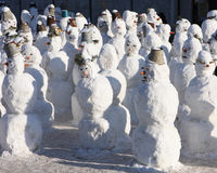 Snowmen crowd Royalty Free Stock Photo