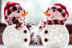 Snowmen decorations. Close-up in Winter Stock Photography