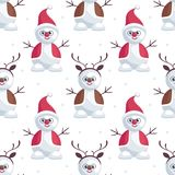 Snowmen deer and Santa. Christmas seamless pattern with the image of snowmen in cartoon style. Vector colorful background Stock Image