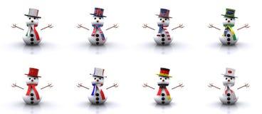Snowmen of different Countries 3D. Set - Snowmen of different Countries 3D Royalty Free Stock Photography