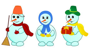 Snowmen family. Cheerful snowmen family with gift. Object isolated, set  illustration Stock Photos