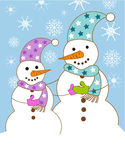Snowmen family Royalty Free Stock Images