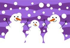 Snowmen family. Three funny snowmen. Winter illustration Stock Photo