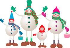 Snowmen family. Vector image of the cheerful snowmen family Stock Photos